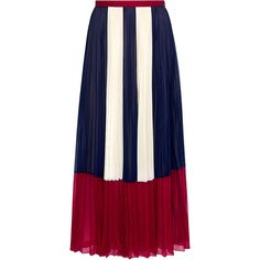 Red Valentino - Color-Block Chiffon Pleated Maxi Skirt (11 505 ZAR) ❤ liked on Polyvore featuring skirts, blue pleated skirt, chiffon maxi skirt, blue pleated maxi skirt, blue chiffon skirt and floor length skirt