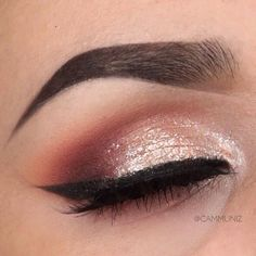 Rose gold and pink glitter eyes. Shop our eye range here > https://www.priceline.com.au/cosmetics/eyes