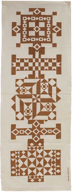 Alexander Girard; Screen-Printed Linen 'Crosses' Environmental Enrichment Panel for Herman Miller, 1972.