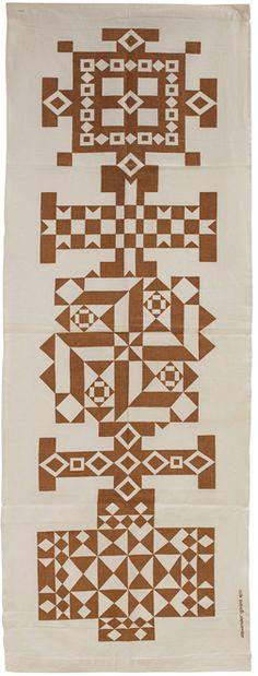 Alexander Girard; Screen-Printed Linen 'Crosses' Environmental Enrichment Panel for Herman Miller, 1972.