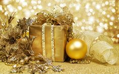 Download wallpapers New Year, golden christmas decorations, gift, golden christmas ball, gold bow