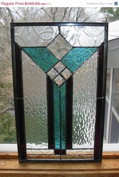 Stained Glass Panel Modern Art Deco Style Purple Aqua-green