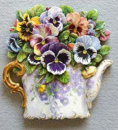 Carol Wilson Pansy  生徒様作品 木は13ミリの厚さで断面は表側の色を塗っています。葉 Kazumi Iitaka