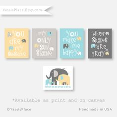 You Are My Sunshine Art Prints - Elephant Family Art - Gray Zoology - Baby Boy Nursery Decor Boy Bedroom Art Yellow Gray Nursery Set of 5 Pin now to view later