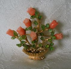 Swoboda Flower Basket Pin Brooch Gem Stones Coral Peridot WOW | eBay