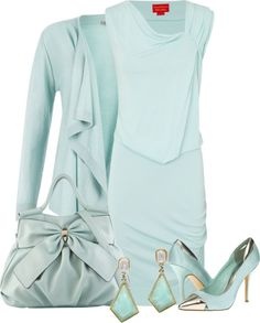 A fashion look from March 2013 featuring draped jersey dress, cardigan top and mint green high heel shoes. Browse and shop related looks. Green Fashion, Spring Fashion, Beautiful Outfits, Beautiful Clothes, Beautiful Things, Chic Fashionista, Flatlay Styling, Cool Style, My Style