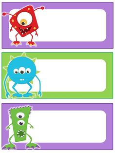 This download is for bright monster themed name plates. They are letter paper sized. Monster Party, Monster Birthday Parties, Classroom Labels, Classroom Themes, Monsters Inc, Little Monsters, Monster Theme Classroom, Monster University Party, Monster Clipart