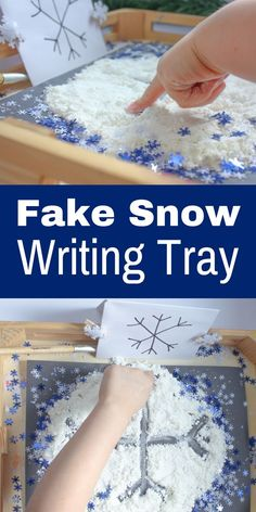 Fake Snow Writing Tray: A Pre-Handwriting Activity – No Time For Flash Cards This fake snow writing tray activity is a great sensory activity that helps to build fine motor skills, while keeping within a fun, winter theme. Winter Activities For Kids, Pre K Activities, Gross Motor Activities, Art Therapy Activities, Winter Crafts For Kids, Sensory Activities, Winter Fun, Kindergarten Activities, Winter Theme