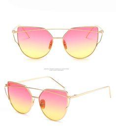 a4f094e9195 2017 Brand Retro Cat Eye Sunglasses Women Vintage Fashion Rose Gold Mirror Eye  Glasses Unique Flat Ladies Eyewear Oculos UV400 - BikiniConcepts.com