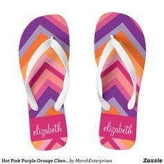 cca47e1bc28 Hot Pink Purple Orange Chevron Pattern Flip Flops Nike Flip Flops