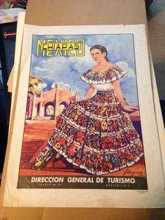 Chiapas Mexico 1950-60s era travel poster lithograph