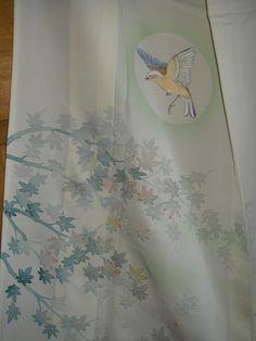 KIMONO ART Vintage Japanese Silk Kimono Elegant Unlined Hitoe Silk Kimono HandPainted Bird in Moon Maple Leaves Momiji Silk Kimono Wall Art