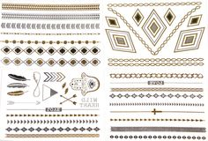 Metallic Temporary Tattoos Four Sheets Boho Hamsa Arrows Feathers Hearts Cross Necklace Bracelet Upper Arm Band Tattoo