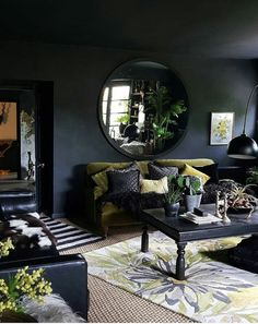 Dark Bohemian Goth living room with dark walls and ceiling, green velvet sofa and lots of bright acid green. Source by Rugs In Living Room, Home And Living, Dark Interiors, Interior Design, House Interior, Living Room Decor, Home, Interior, Black Living Room