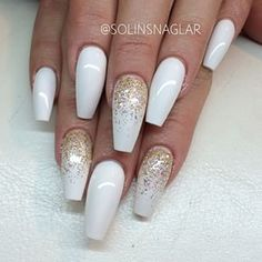 Trendy Nails Stiletto Gold Sparkle Source by demilight . Gold Acrylic Nails, White Coffin Nails, Stiletto Nails, Gold Coffin Nails, Trendy Nails, Cute Nails, Gold Sparkle Nails, Gold Glitter, Hair And Nails