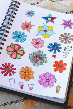 """Practicing simple flower designs from """"Zenspirations, Letters & Patterning"""" by Joanne Fink.   These were colored with various Sakura Gelly Roll pens and Tombow markers."""