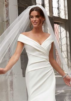 Stacey Wedding Dress The Stacey wedding gown features draped, stretch Larissa satin in a fit to flare silhouette. Mori Lee Wedding Dress, Making A Wedding Dress, Sheath Wedding Gown, Wedding Dress With Veil, Fit And Flare Wedding Dress, Bridal Wedding Dresses, Cheap Wedding Dress, Popular Wedding Dresses, Wedding Dresses Plus Size