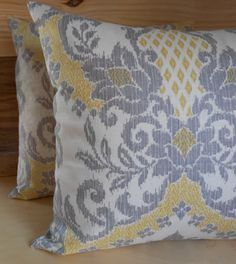 Citrine & Gray Ikat Pillow Covers. Must have.