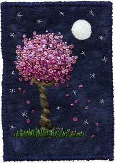 Moonlight Blossoms by Kristen Chursinoff Textile Art