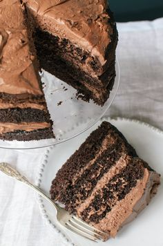 KEEPER*** Essential Recipe: Chocolate Layer Cake — Recipes from The Kitchn. Can make 24 cupcakes using slightly more than of batter for each and baking for minutes. Just Desserts, Delicious Desserts, Dessert Recipes, Dinner Recipes, French Desserts, Cupcakes, Cupcake Cakes, Perfect Chocolate Cake, Decadent Chocolate