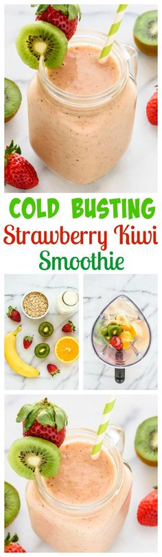 A simple and delicious Strawberry Kiwi Smoothie. Loaded with vitamin C, vitamin D, and zinc, this healthy smoothie recipe is a natural cold cure too! www.wellplated.com