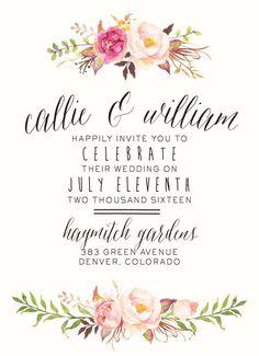Watercolor Floral Wedding Invitation by SplashOfSilver // Rustic, Boho Chic // B...