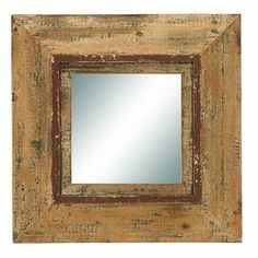 """Add depth to your living room or master bath with this wood wall mirror, showcasing a distressed style and antiqued finish.  Product: Wall mirrorConstruction Material: Wood and mirrored glassColor: Distressed brownDimensions: 22"""" H x 22"""" W"""