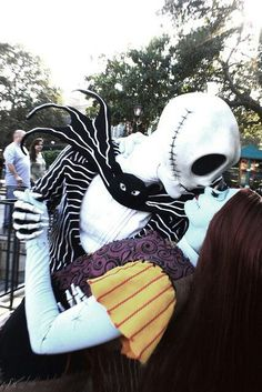Jack Skellington and Sally face characters at disneyland