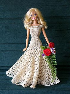 crochet Dress for Barbie Love this. I remember my mom having lots of hand crocheted doll/barbie clothes from her aunt. Not sure I'll venture into trying to make any for my granddaughters but this would be one if I do Crochet Doll Dress, Crochet Barbie Clothes, Knitted Dolls, Crochet Dresses, Knit Dress, Barbie Clothes Patterns, Clothing Patterns, Dress Patterns, Crochet Patterns