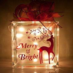 Christmas Glass Blocks with Lights - Bing images