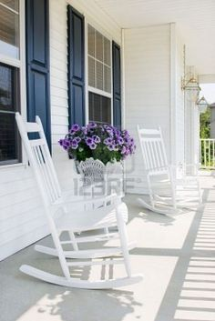 front porch and white rocking chairs :) - Decoration, Room Decoration, Decoration Appartement, Home Decor, Bedroom Decor White Rocking Chairs, Adirondack Rocking Chair, Rocking Chair Front Porch, Porch Swing, Outdoor Walls, Outdoor Spaces, Outdoor Chairs, Porch Chairs, Front Porch Flowers