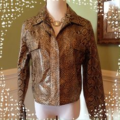 Snake Skin Print Jacket Excellent Condition!!!  Snake skin print with a leather look. 2 pockets on the front. Hidden zip closure. Snap sleeve cuffs. FU DA Sport Jackets & Coats