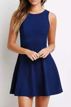 Navy Blue Sleeveless Pleated Mini Dress