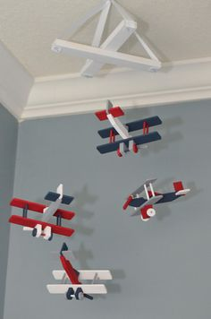 BiPlane Airplane Baby Mobile Airplane Nursery - Navy Red Grey and White – Flutter Bunny Boutique