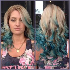 Kenra Color Creative work by Charissa Hunt. #BlueHair #TealHair #MermaidHair