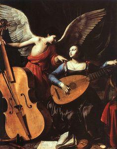 Carlo Saraceni, the angel and St Cecilia, ca. 1610