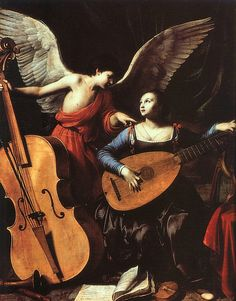Carlo Saraceni, The Angel and St Cecilia (ca. 1610) - One of my favorite paintings!