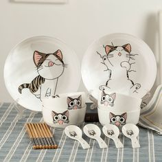 Set includes:two dish+four bowl+four chopsticks+four spoon set. Color:white. Fabric material:ceramic. Tips: *Please double check above size and consider your measurements before ordering, thank you ^_