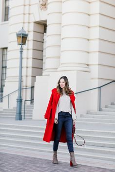 red coat, red heels, red lips, red bag for fall