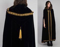 Vtg 70s Black Velvet Ethnic Medieval Goth Gypsy by theindustry, $282.00
