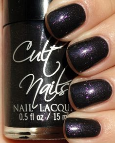 Cult Nails: Mind Control - a dark charcoal jelly base with an extreme amount of purple micro shimmer that does a slight color shift to gold/green