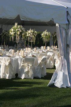 White Rose Candelabra Centerpiece