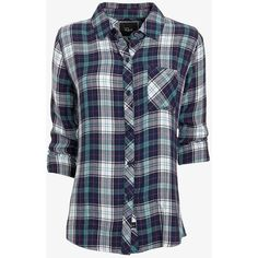 Rails Hunter Plaid Shirt: Navy/Teal (€115) ❤ liked on Polyvore featuring tops, shirts, plaid, blusas, button down, plaid button up shirts, collared shirt, button up shirts, navy blue shirt and navy blue collared shirt