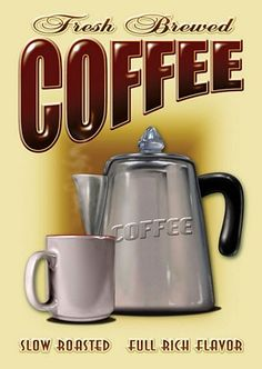 "The pleasant aroma of fresh-brewed coffee in the morning is so relaxing. This ""Fresh Brewed Coffee slow roasted"" tin sign has a good old retro feel. With its old, metal coffee pot, along with the classic white coffee mug, this sign would look great in any kitchen, diner, drive-in or dive. What an unique gift idea for any dedicated coffee drinker."