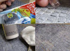 faux cobble stone - black air dry clay + beige paint