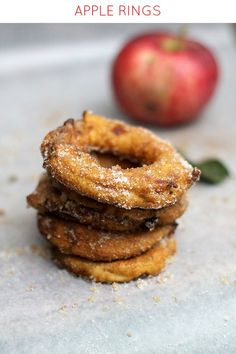A quick and delicious Fall snack of sliced apple rings dipped in batter and topped with cinnamon-sugar.