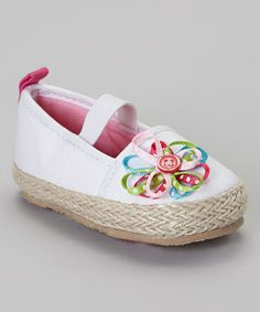 Another great find on #zulily! White Ribbon Flower Espadrille by Baby Deer #zulilyfinds