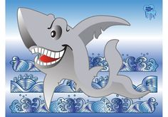 Shark Vector -  Free shark vector cartoon for your nature, ocean and animal design themes. Download shark cartoon on blue waves background to create original deep sea, dangerous creature, attack, fear, jaws, scuba diving, swimming and marine artworks. Shark illustration in vector art format.  - https://www.welovesolo.com/shark-vector/?utm_source=PN&utm_medium=weloveso80%40gmail.com&utm_campaign=SNAP%2Bfrom%2BWeLoveSoLo