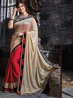 Grand Wedding Embroidery Cream Red Chiffon Net Designer Saree