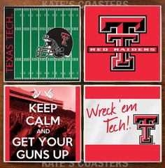 Set of 4 Texas Tech Red Raiders college ceramic sublimation coasters by KatesCoasters, $10.00
